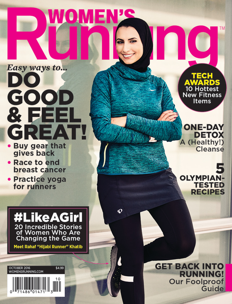 32-year-old Rahaf Khatib from Michigan was featured in the Oct. 2016 issue of Women's Running magazine. She is the first known hijabi woman to be prominently featured on the cover of a lifestyle and fitness magazine.