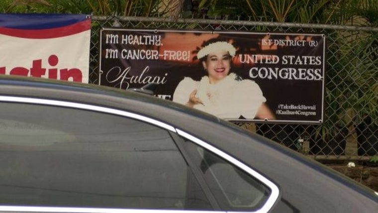 A photo of one of Angela Aulani Kaaihue's campaign signs.