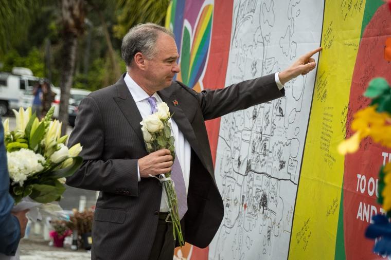 Image: Tim Kaine Visits Orlando Massacre Site
