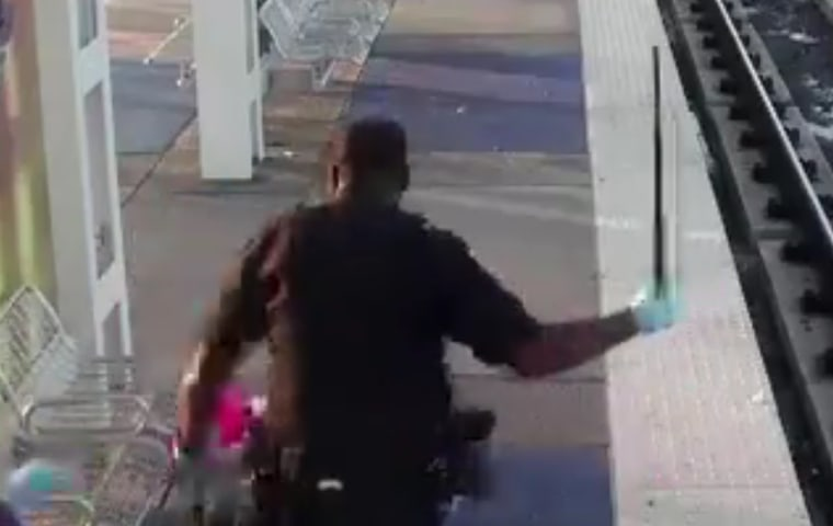 A Houston officer resigned after a train station camera captured him beating a man with a baton.
