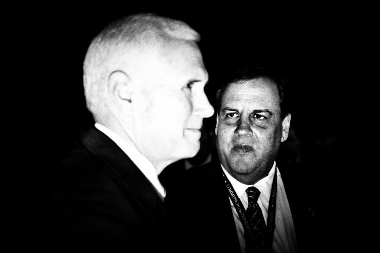 Republican vice presidential candidate Mike Pence and Gov. of New Jersey Chris Christie are seen ahead of the first presidential debate at Hofstra University in Hempstead, N.Y. on Sept. 26.