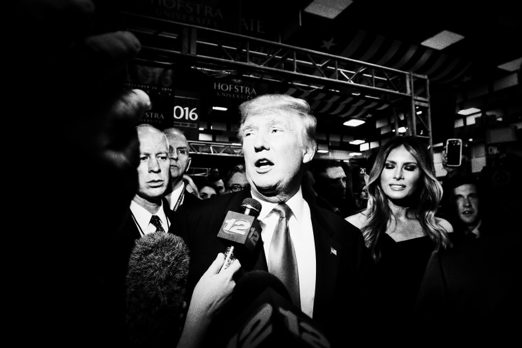 Republican presidential nominee Donald Trump answers questions from the media after the debate.