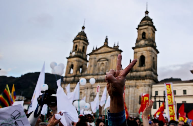 Image: A concert celebrating the signing of the peace agreement between the FARC and the Colombian government in Bogota