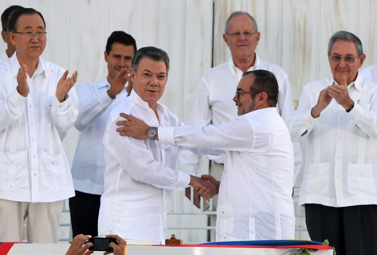 Image: TOPSHOT-COLOMBIA-CONFLICT-PEACE