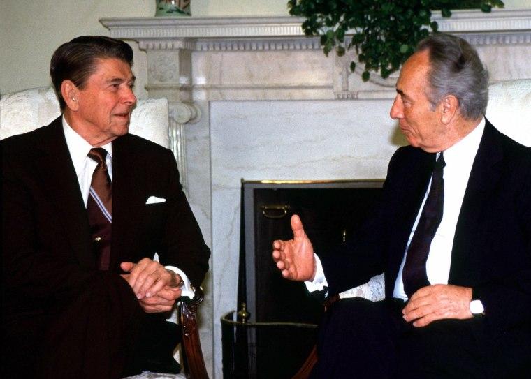 IMAGE: Ronald Reagan and Shimon Peres