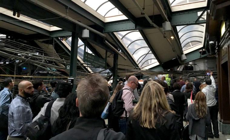 A train crashed into platform Thursday in Hoboken, N.J.
