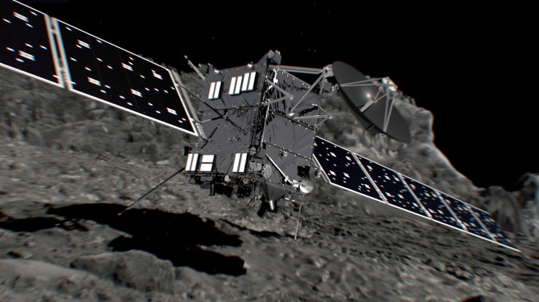 Artist's impression of Rosetta shortly before hitting Comet 67P/Churyumov-Gerasimenko on Sept. 30.