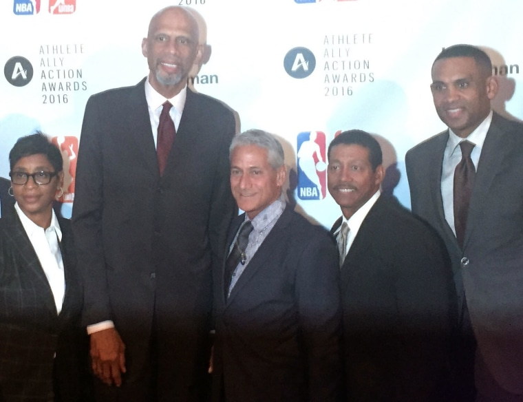 (L-R) Violet Palmer, Kareem Abdul-Jabbar, Greg Louganis, Bill Kennedy, and Grant Hill at the Athlete Ally Action Awards in NYC on Sept. 27, 2016.