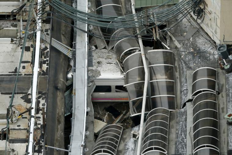 A derailed New Jersey Transit train