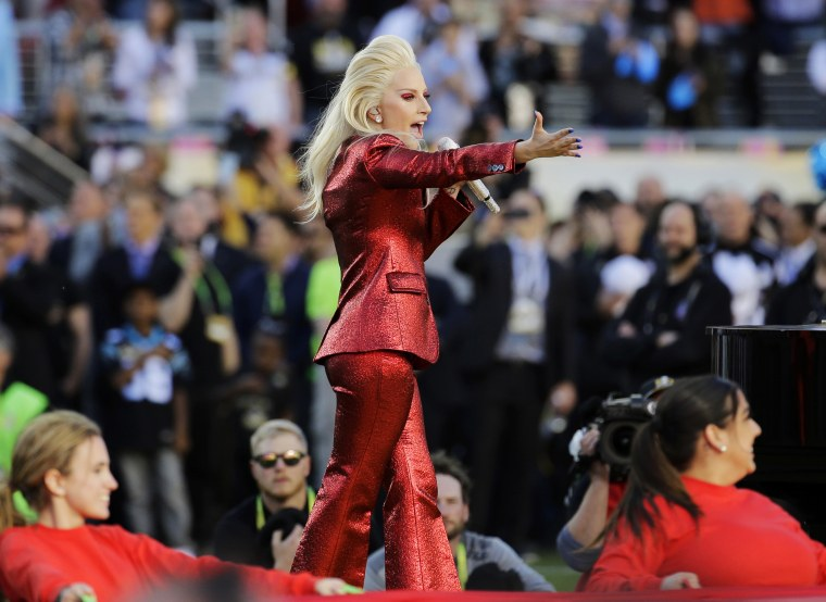 Lady Gaga sings the national anthem before the NFL Super Bowl 50 football game between the Denver Broncos and the Carolina Panthers in Santa Clara, Calif. on Feb. 7, 2016.