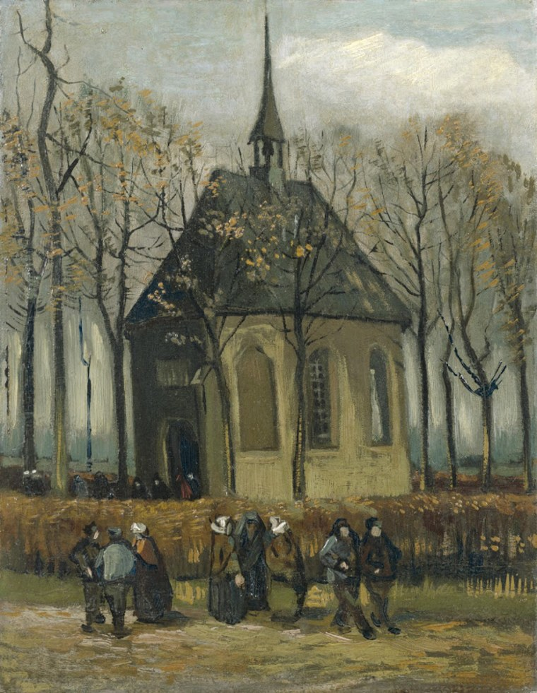 Image: Congregation Leaving the Reformed Church in Nuenen, painted by Vincent van Gogh in 1884/85