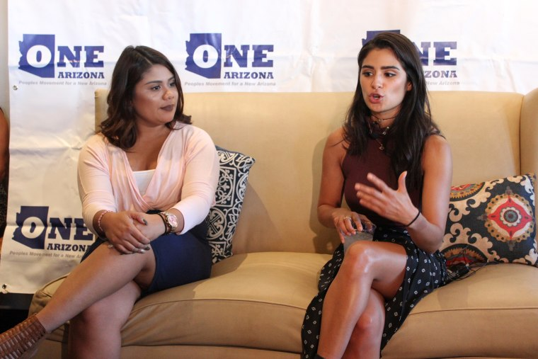 """Actress Diane Guerrero met with volunteers of the voter registration coalition """"One Arizona,"""" urging them to use their stories to encourage Hispanics to register and vote."""