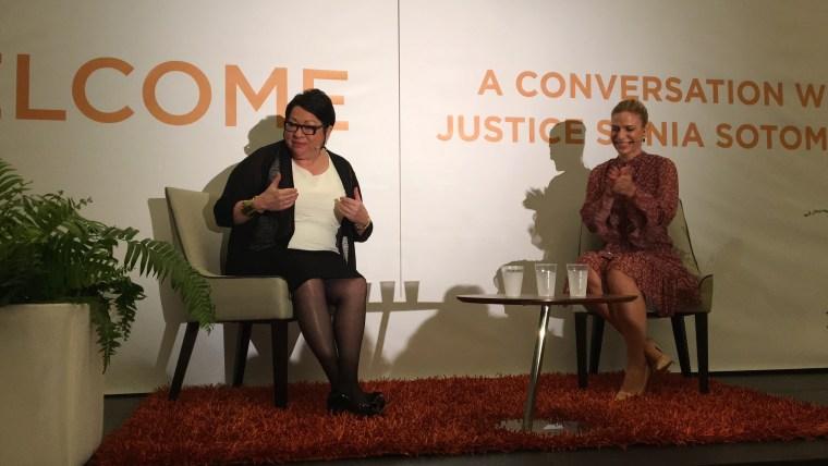 Supreme Court Justice Sonia Sotomayor speaks to female entrepreneurs at the Animus Summit in San Juan, Puerto Rico.