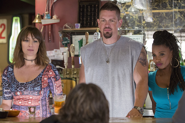 "(L-R) Isidora Goreshter as Svetlana, Shanola Hampton as Veronica Fisher and Steve Howey as Kevin Ball in ""Shameless."""