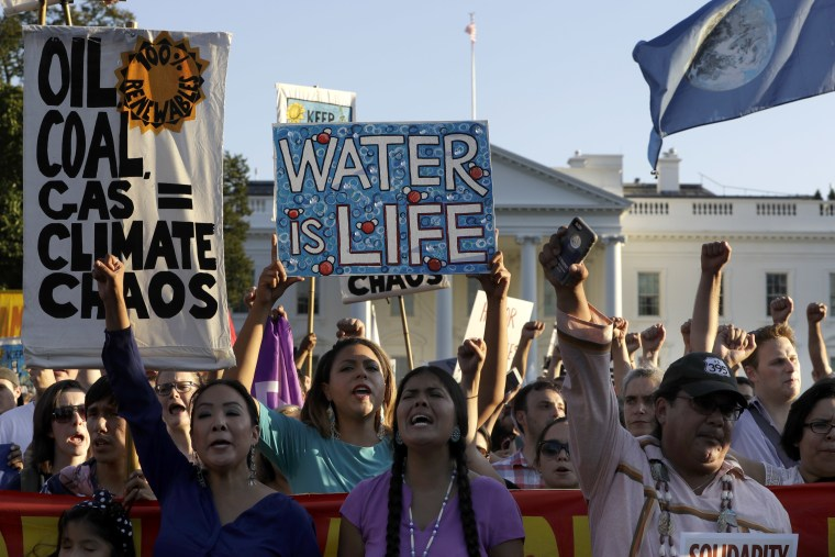 Supporters of the Standing Rock Sioux Tribe demonstrate against the Dakota Access oil pipeline in front of the White House on Sept. 13 in Washington.
