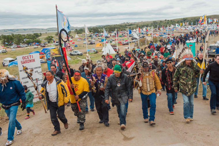 Image: Protesters demonstrate against the Energy Transfer Partners' Dakota Access pipeline near the Standing Rock Sioux reservation in Cannon Ball, North Dakota