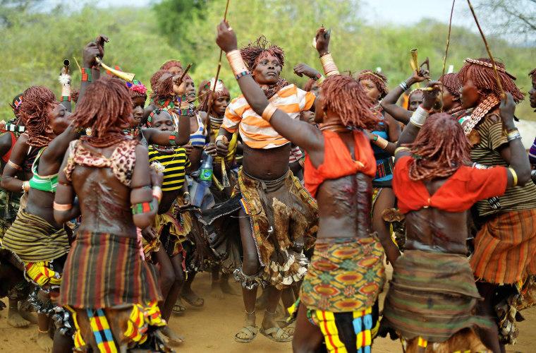 Image: TOPSHOT-ETHIOPIA-CULTURE-TRIBES-HAMAR