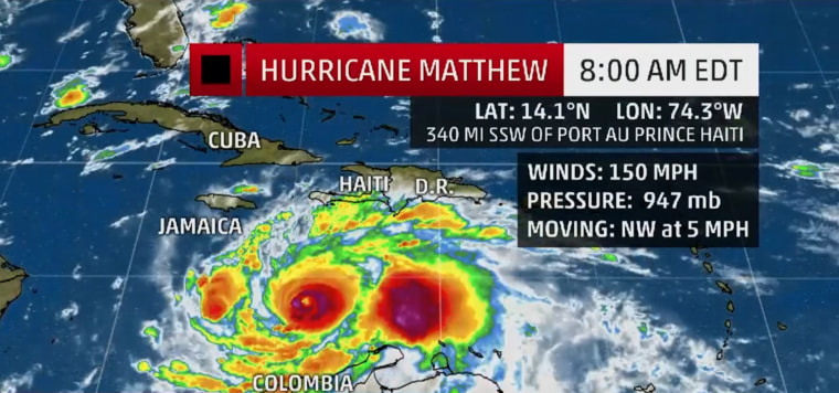 Image: The status on Hurricane Matthew as on Sunday morning