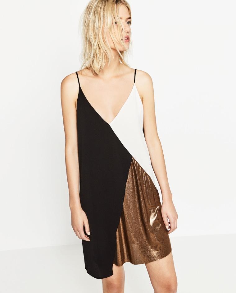 Zara colorblock slip dress