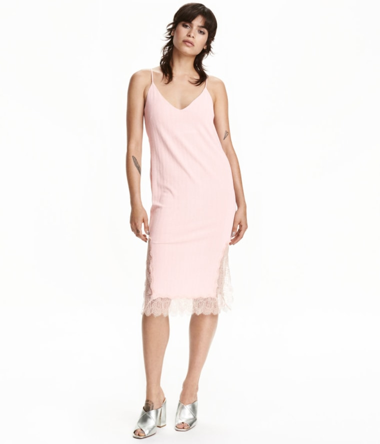 H&M pink slip dress with lace