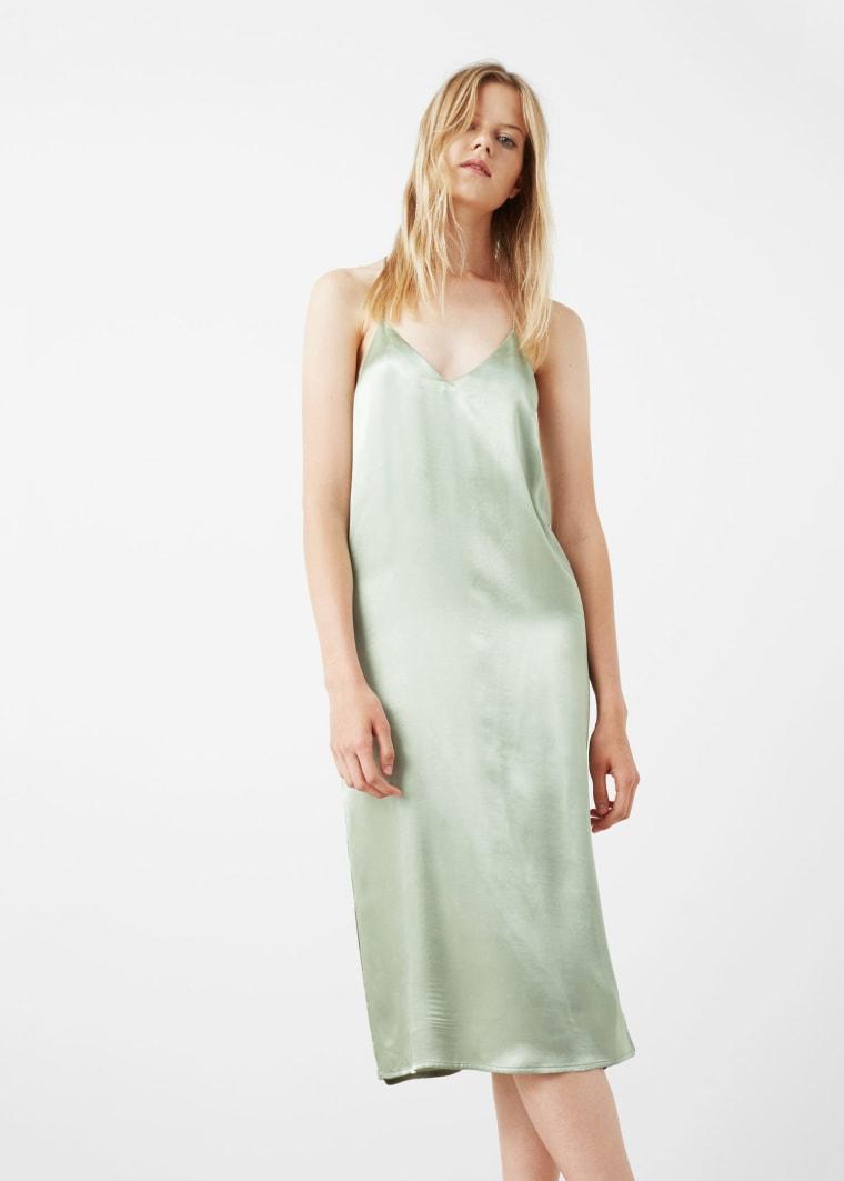 Mango mint green spaghetti strap dress