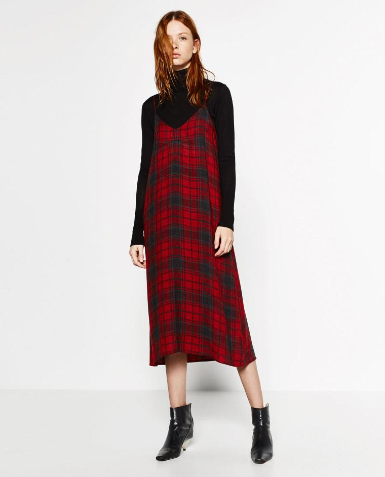 Zara plaid midi slip dress