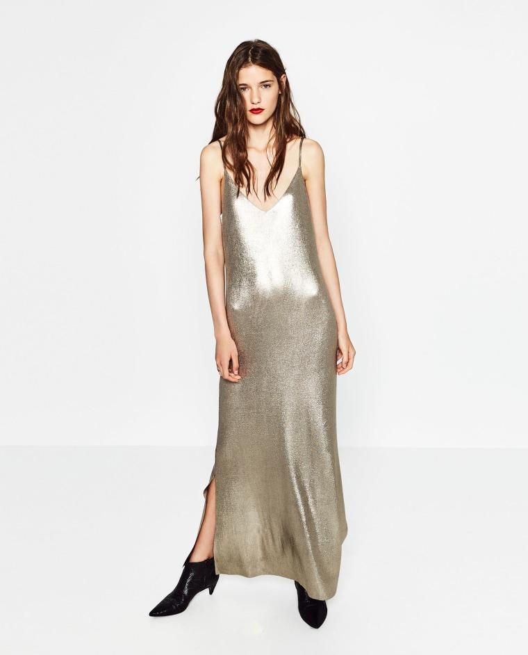 Zara metallic slip dress
