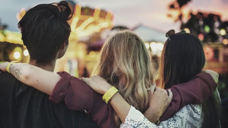 Friends Huddle Happiness Amusement Park