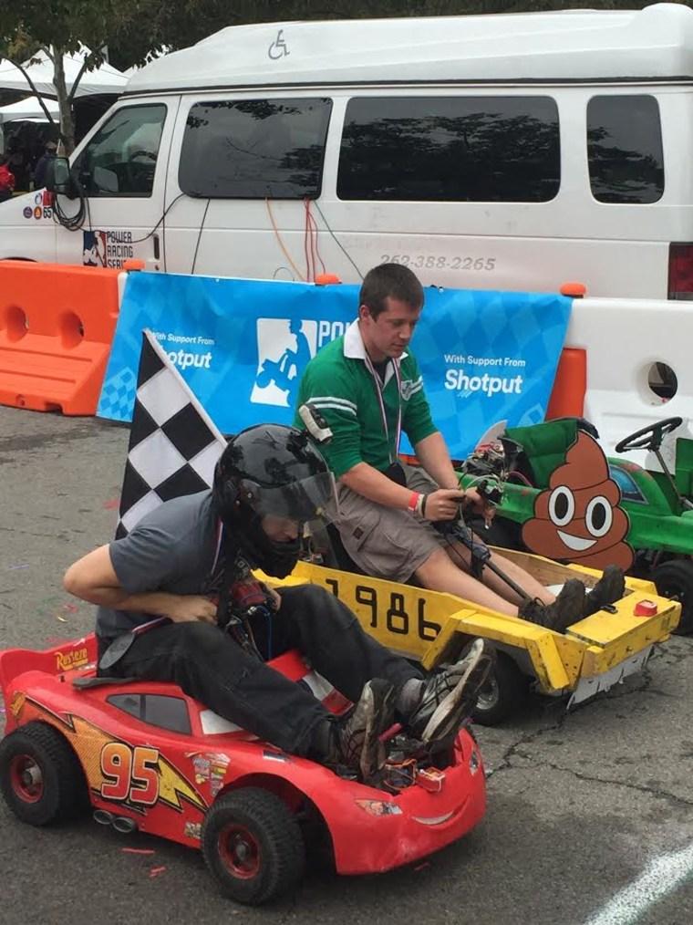 Cars line up at the Maker Faire raceway.
