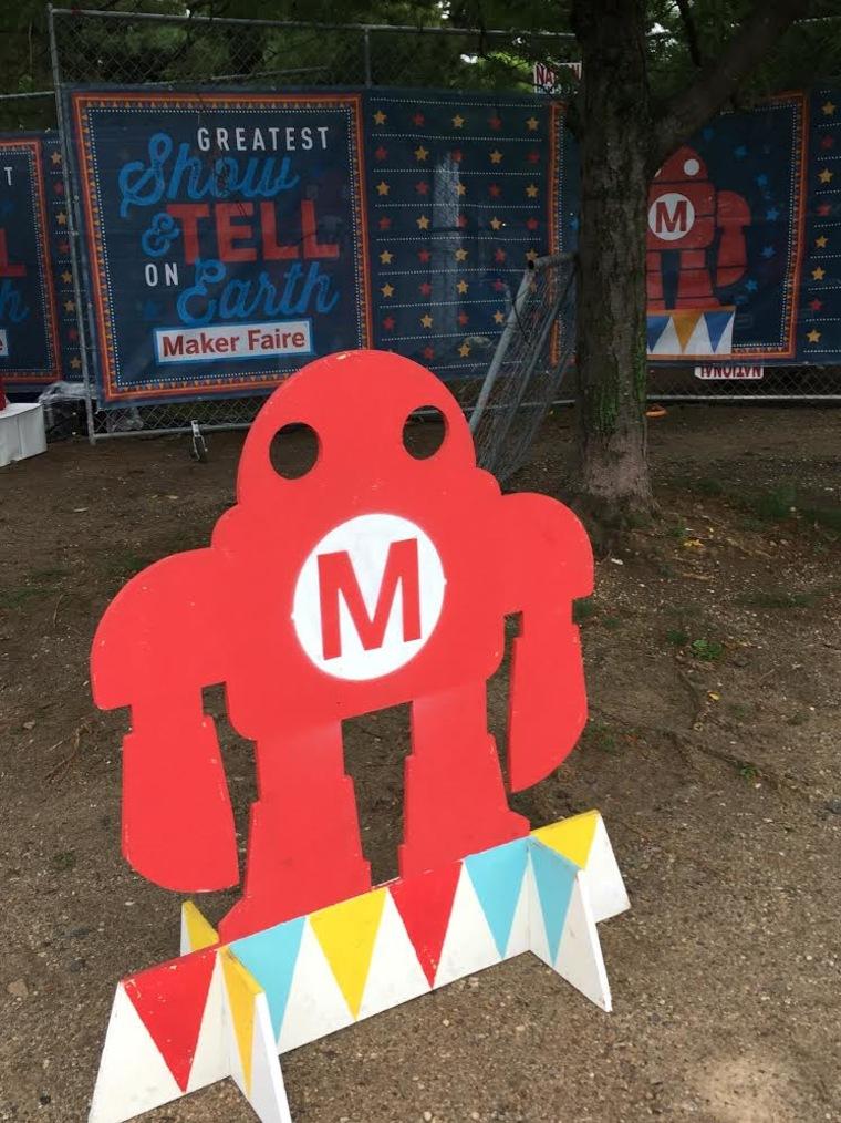 A mini maker bot greets all visitors at Maker Faire.
