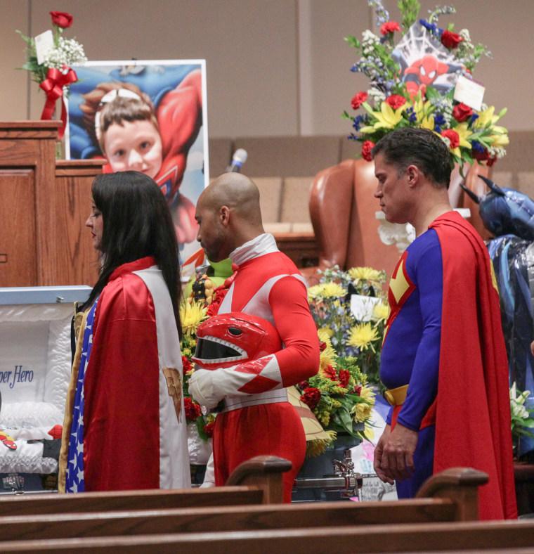 Superhero funeral for Jacob Hall