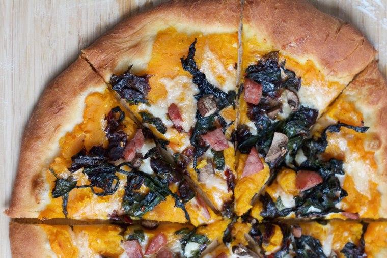 Roasted butternut squash pizza