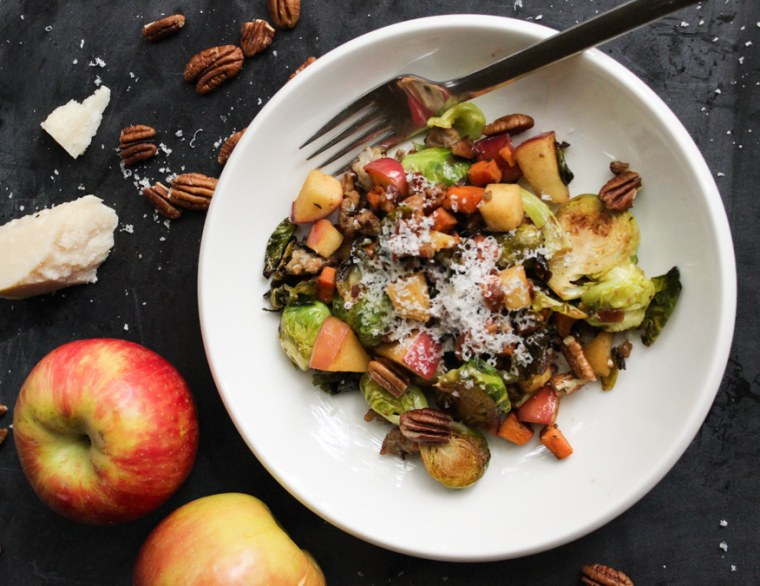 Sweet & Savory Pan Roasted Brussels Sprouts with Pecans, Apples, Sweet Potatoes & Sausage