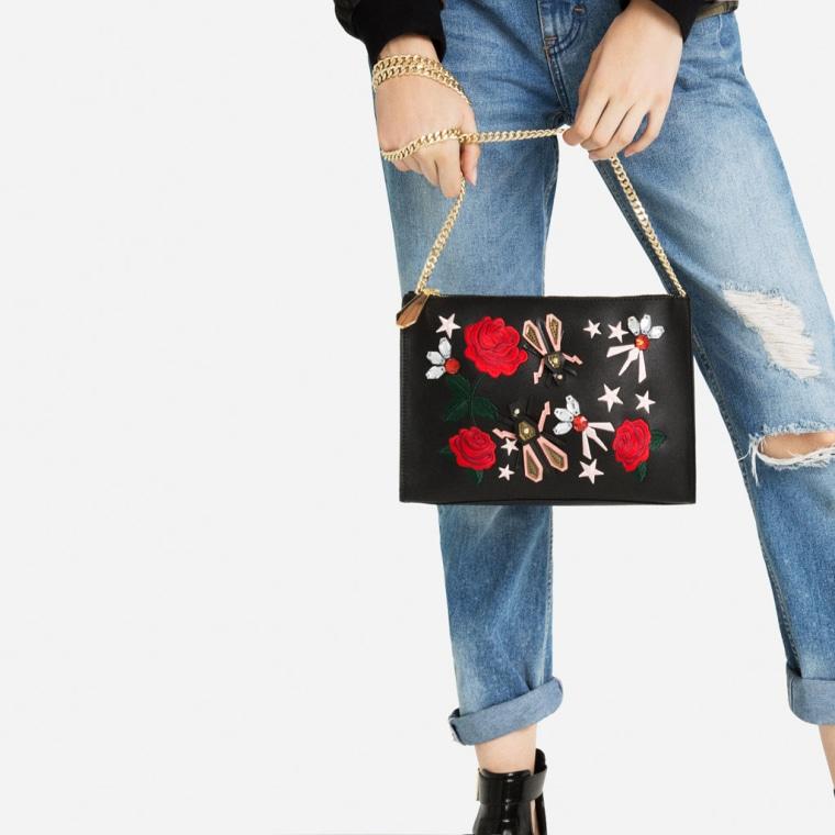 Zara embroidered clutch