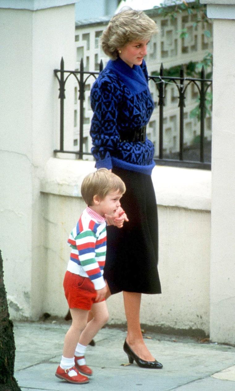 Princess Diana taking Prince William to kindergarten
