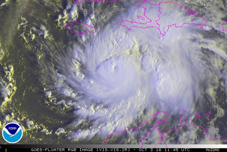Image: Hurricane Matthew is seen in an image from NOAA's GOES-East satellite