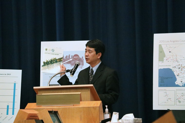 Marshall Wong presenting at the release of the 2015 Los Angeles County Human Relations Commission Hate Crimes Report