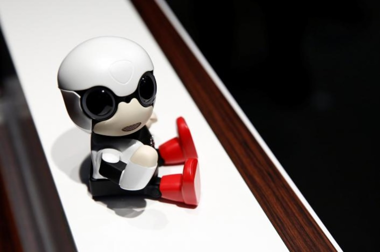 Toyota Motor Corp's Kirobo Mini robot is pictured during a photo opportunity after a news conference in Tokyo