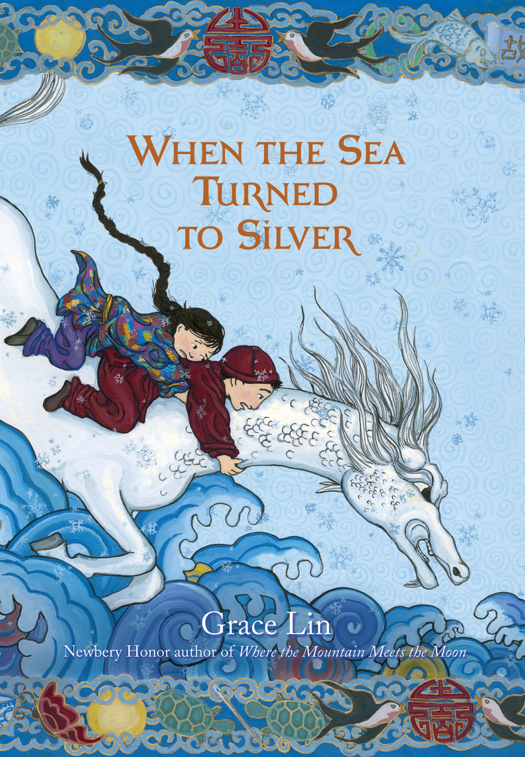 "The cover art from Grace Lin's newest book, ""When the Sea Turned to Silver."""