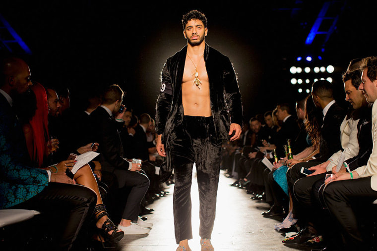 Model Laith Ashley walks the runway during the 7th Annual amfAR Inspiration Gala on June 9, 2016 in New York City.