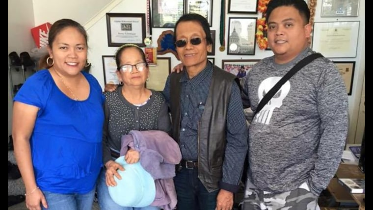 Kalanduyan with his family. From left: his daughter Yasmin Rosales, his wife Josefina, and his son Dennis.