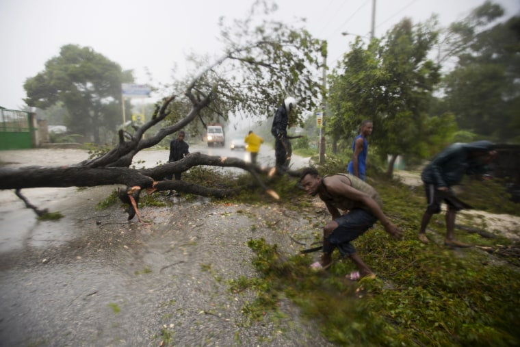 Image: People work to remove an uprooted tree from a road in Leogane, Haiti