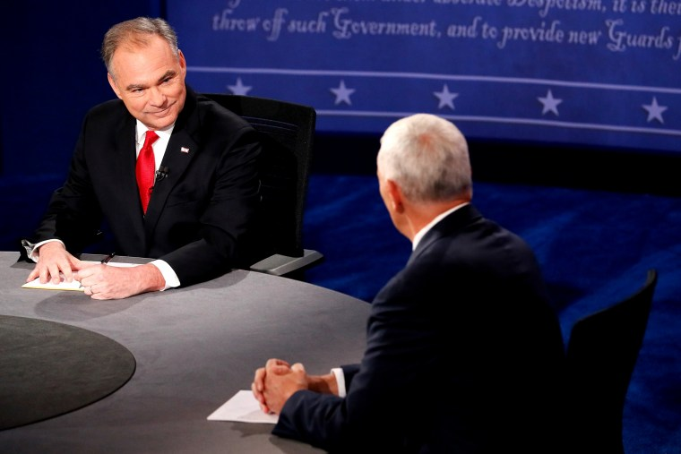 Image: Vice Presidential Debate Between Gov. Mike Pence And Sen. Tim Kaine