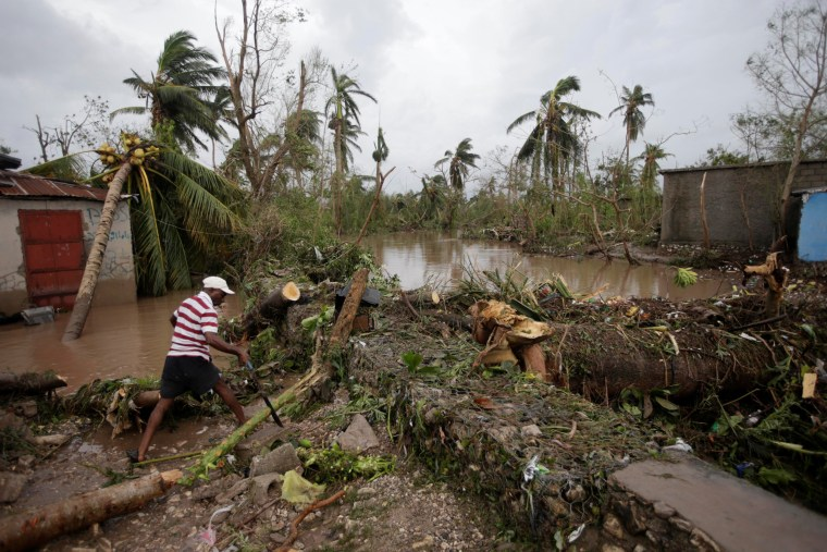 Image: A man cuts branches off fallen trees in a flooded area by a river after Hurricane Matthew in Les Cayes