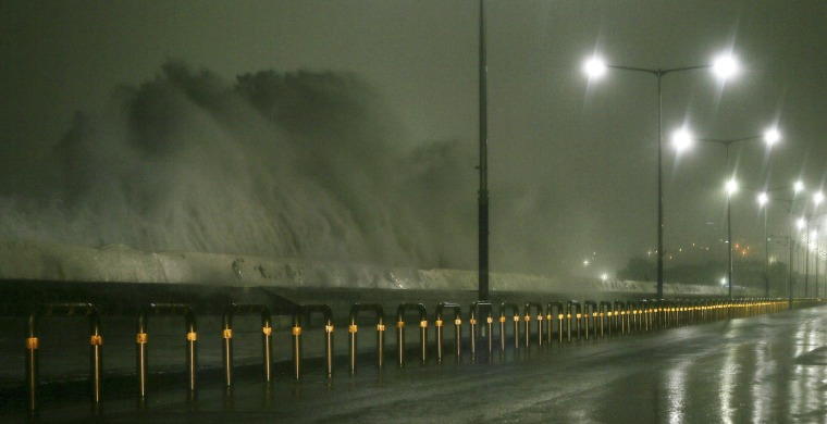 Image: Typhoon Chaba creates heavy rains and high winds on Jeju Island