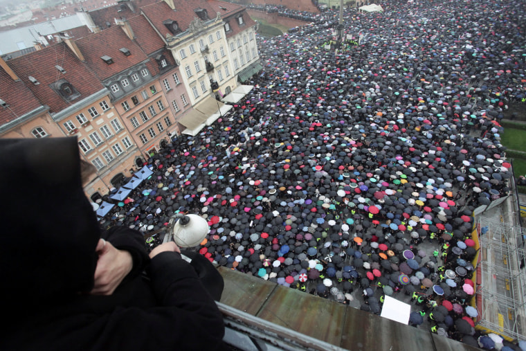 Image: Thousands took part in Monday's abortion protest in Poland.
