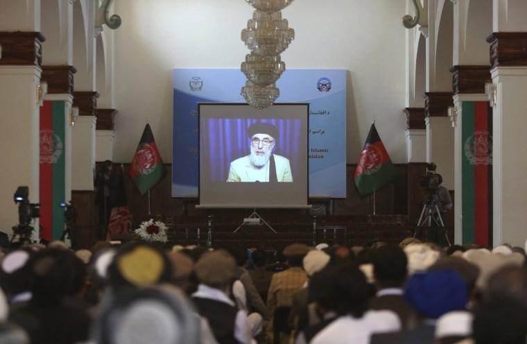 Image: Gulbuddin Hekmatyar appears on a screen