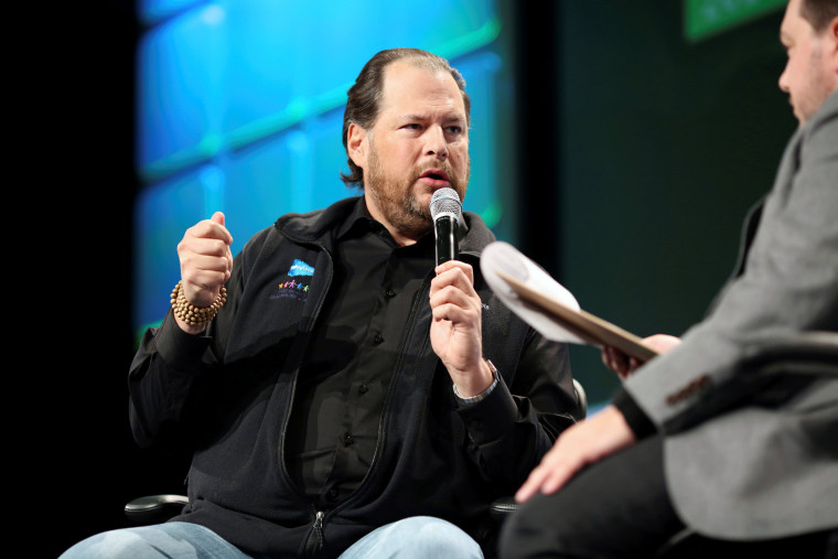 Image: Salesforce CEO Marc Benioff talks about philanthropy and social issues during 2016 TechCrunch Disrupt in San Francisco