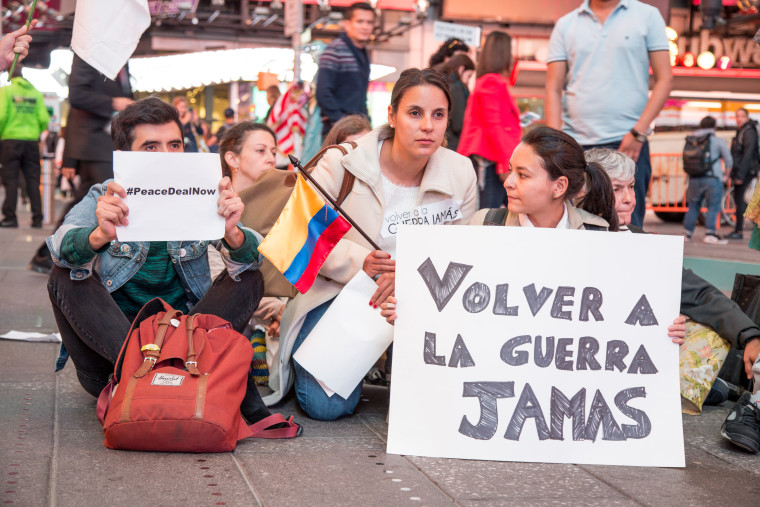 """A group of young Colombian political activists who took part in the """"March for Peace"""" Wednesday in Manhattan's Times Square."""