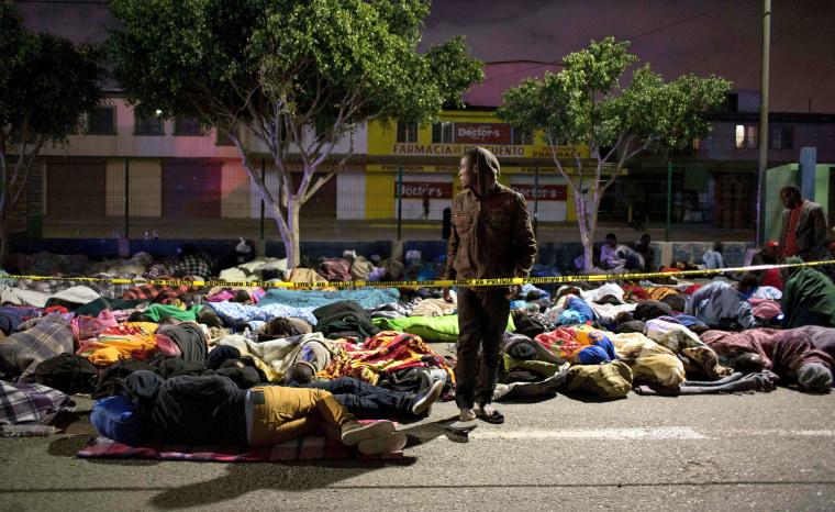 Image: Haitian and African migrants seeking for asylum